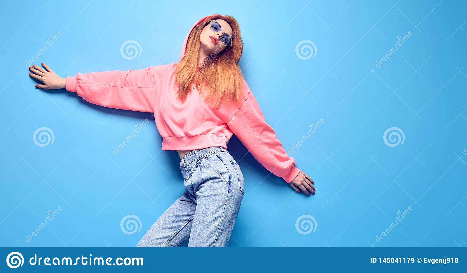 Two Hipster Girl Having Fun In Stylish Neon Outfit Stock
