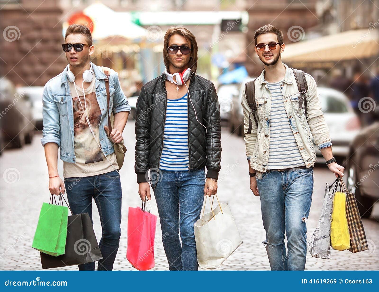 Fashion Young Guys Go Shopping Stock Photo - Image 41619269