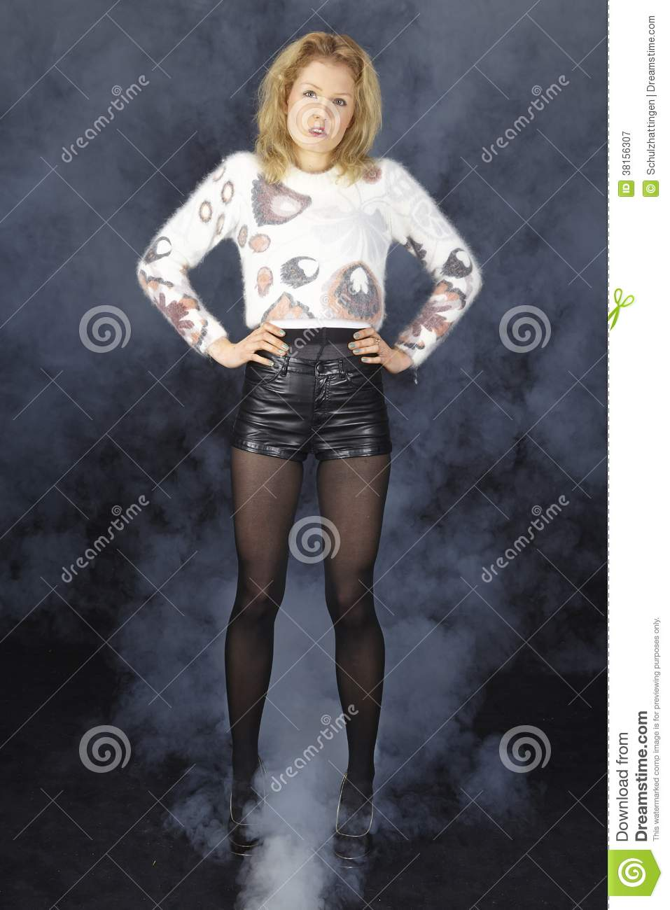 Fashion Young Woman With Light Pullover And Black