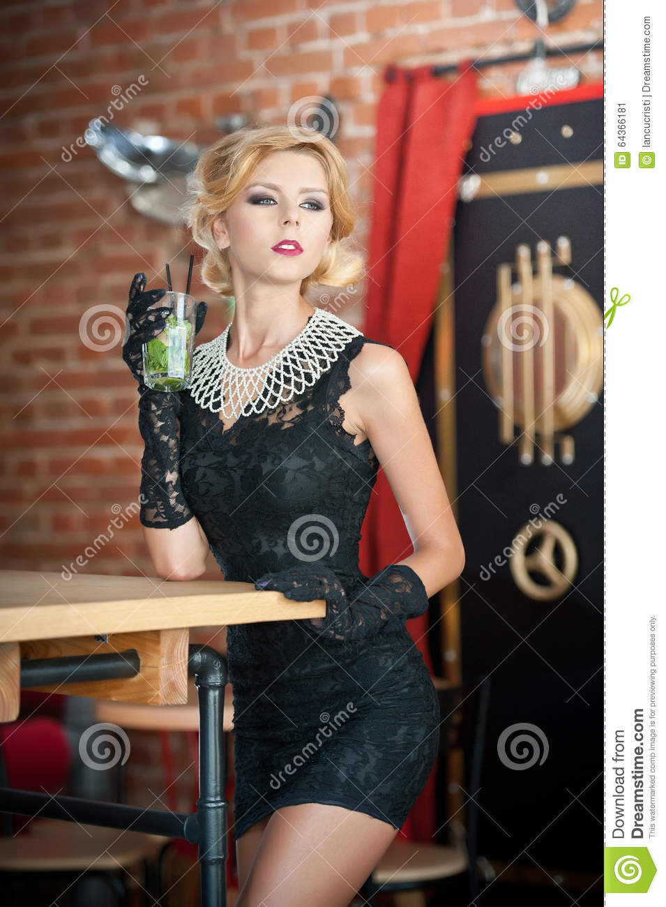 Fashionable Attractive Lady With Little Black Dress And Long Gloves