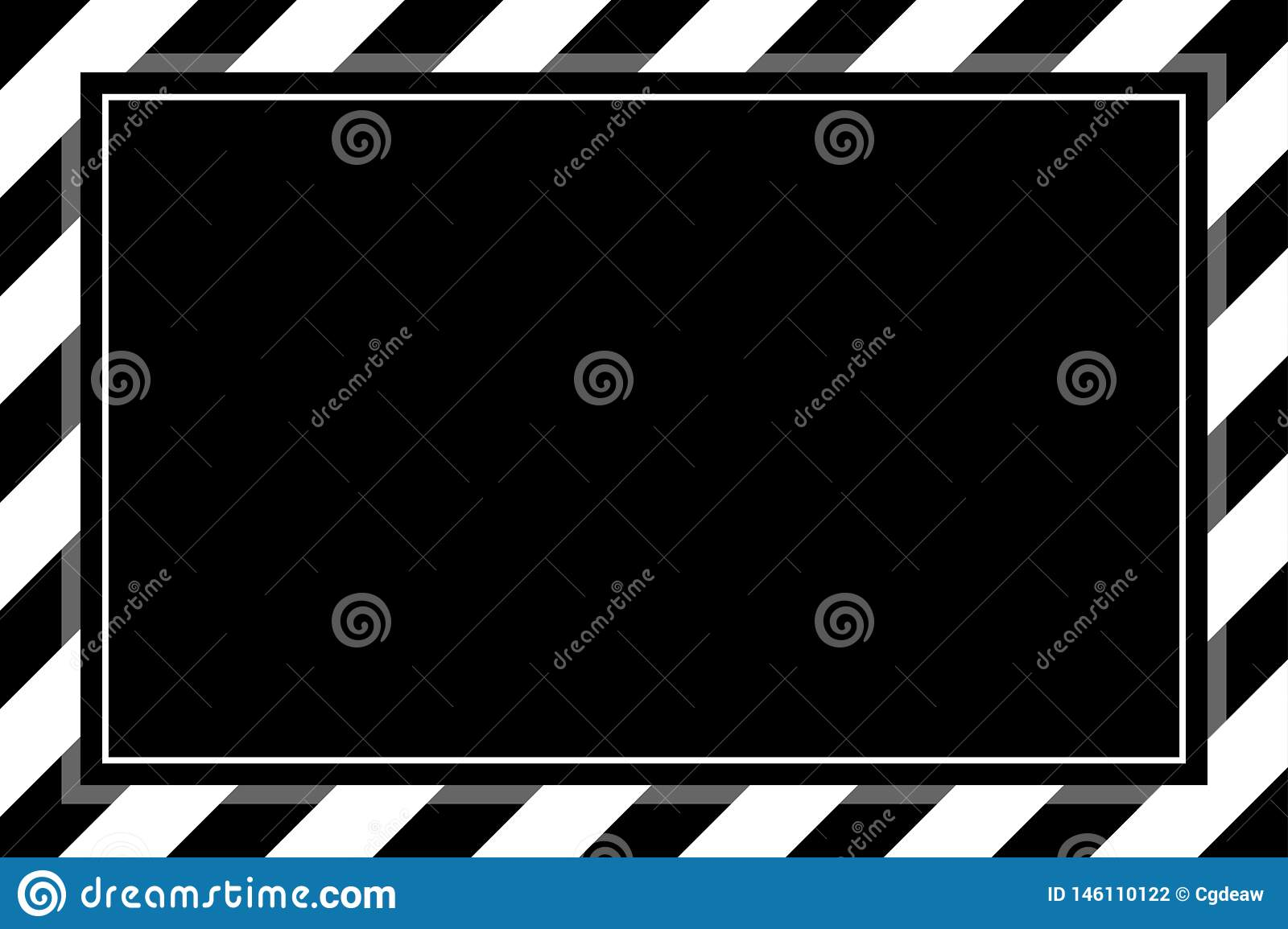 Fashionable black and white stripe frame template for background copy space, banner frame striped awning, stripe frame