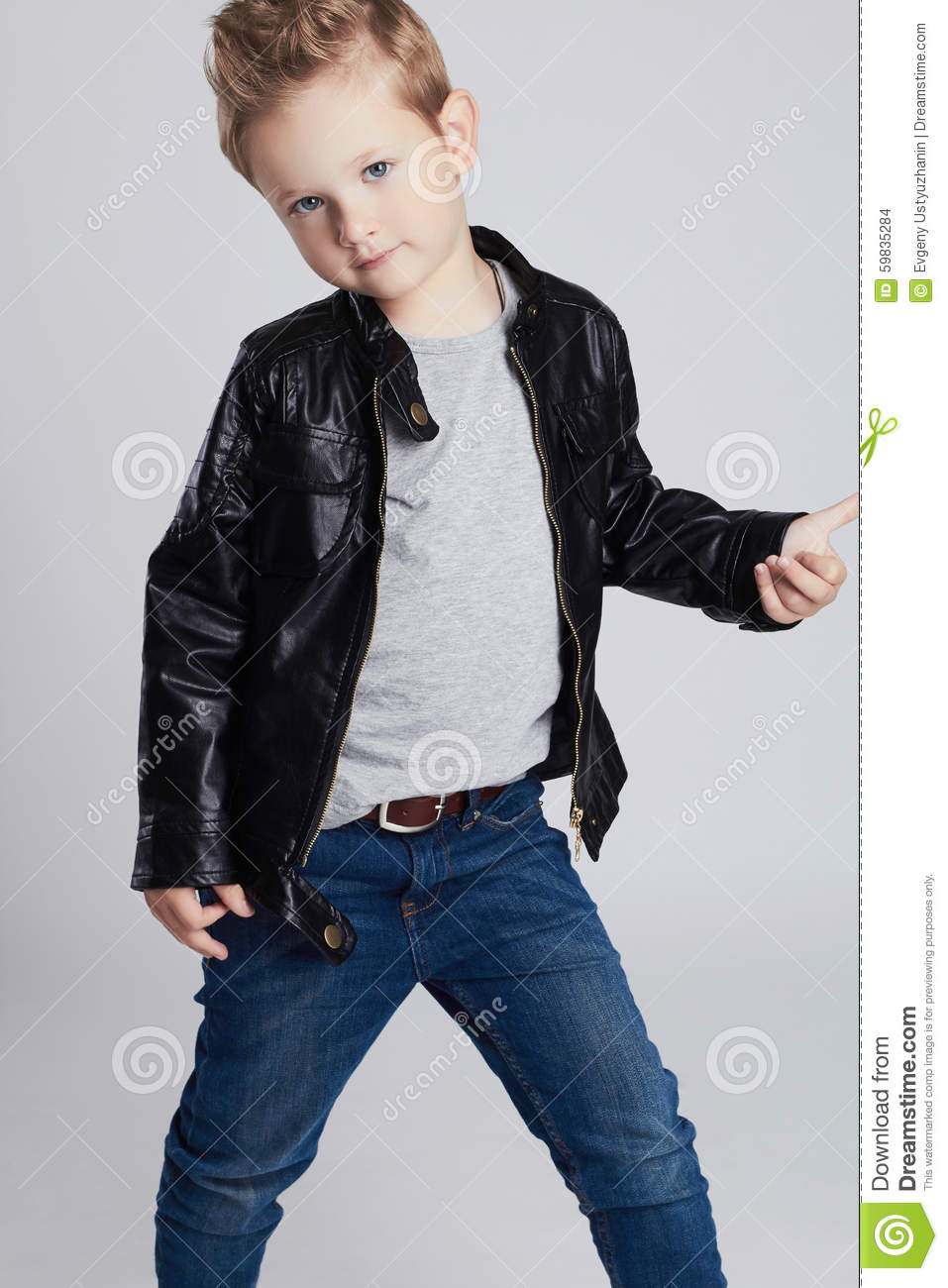 Fashionable Child In Leather Coat Little Boy Stock Photo