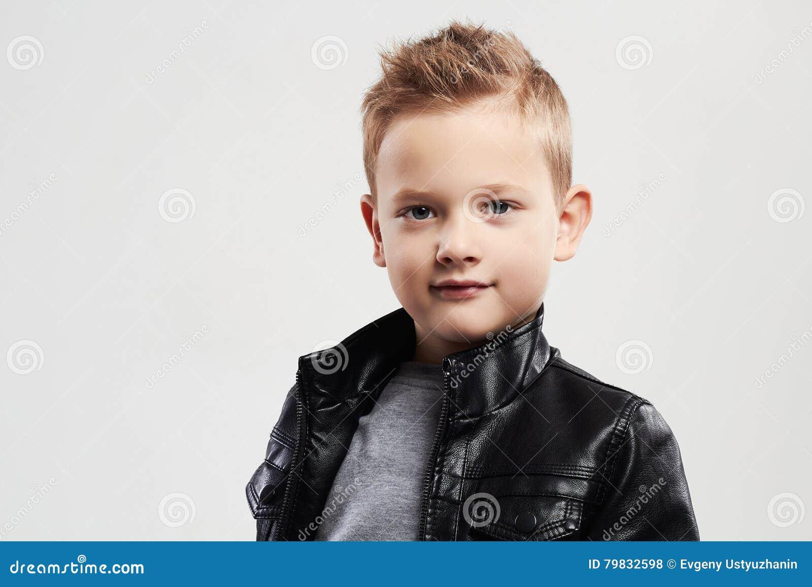 Fashionable Child In Leather Coat Stylish Child With