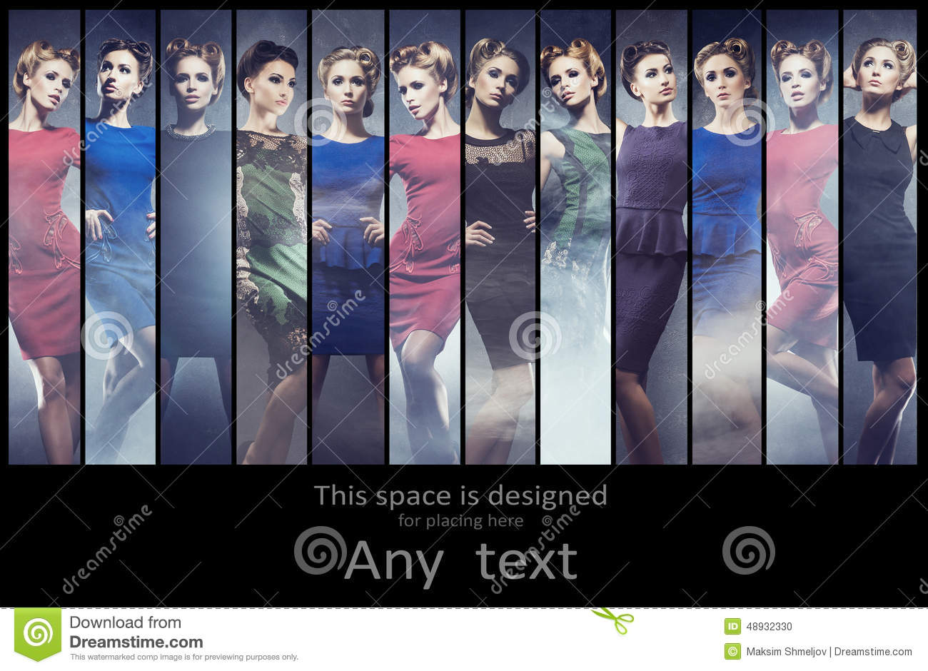 Fashionable collection of different women posing in dresses