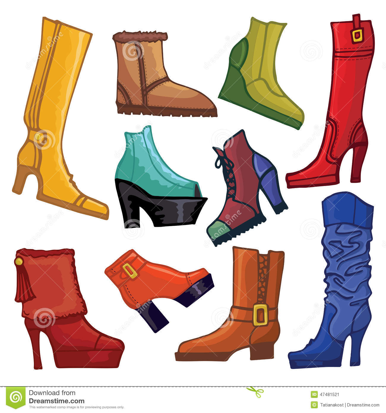 Fashionable colored women 39 s boots and shoes stock vector image 47481521 - Autumn plowing time all set for winter ...