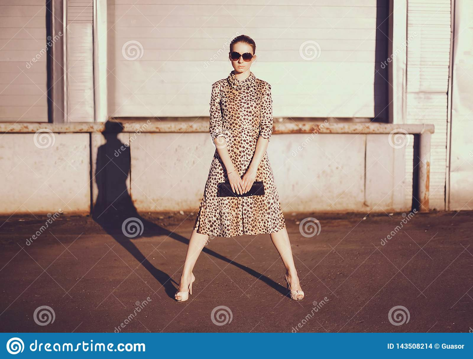 Fashionable confident woman in dress with leopard print, female model holding handbag clutch posing evening casts a shadow on city