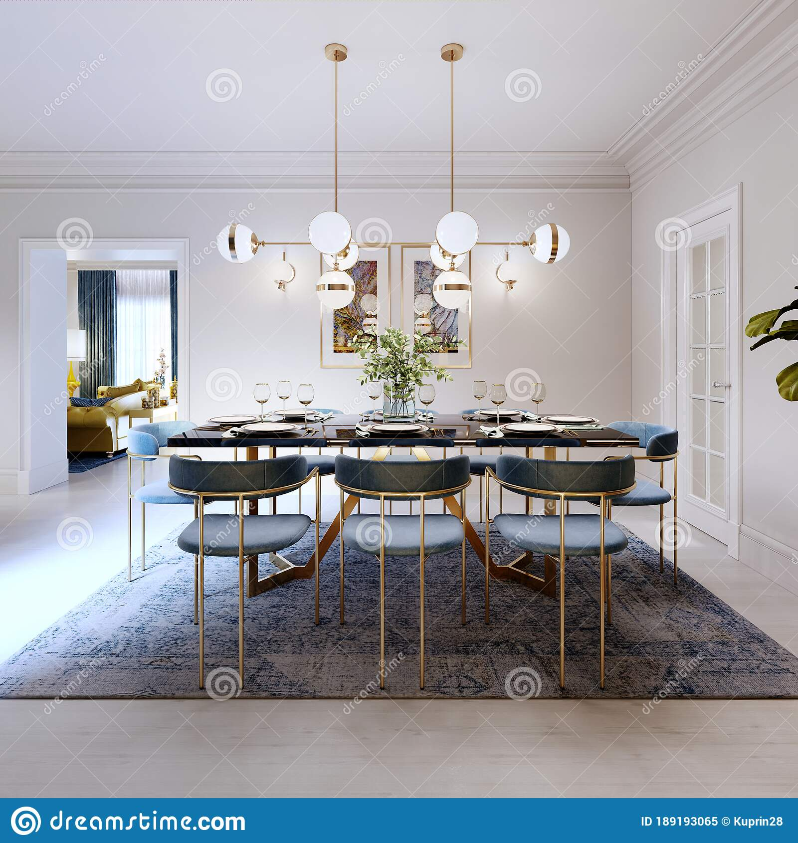 Fashionable Designer Dining Table Black Countertop Blue Chairs Yellow Furniture Dining Area With Kitchen Multi Colored Meel Stock Illustration Illustration Of Contemporary Floor 189193065
