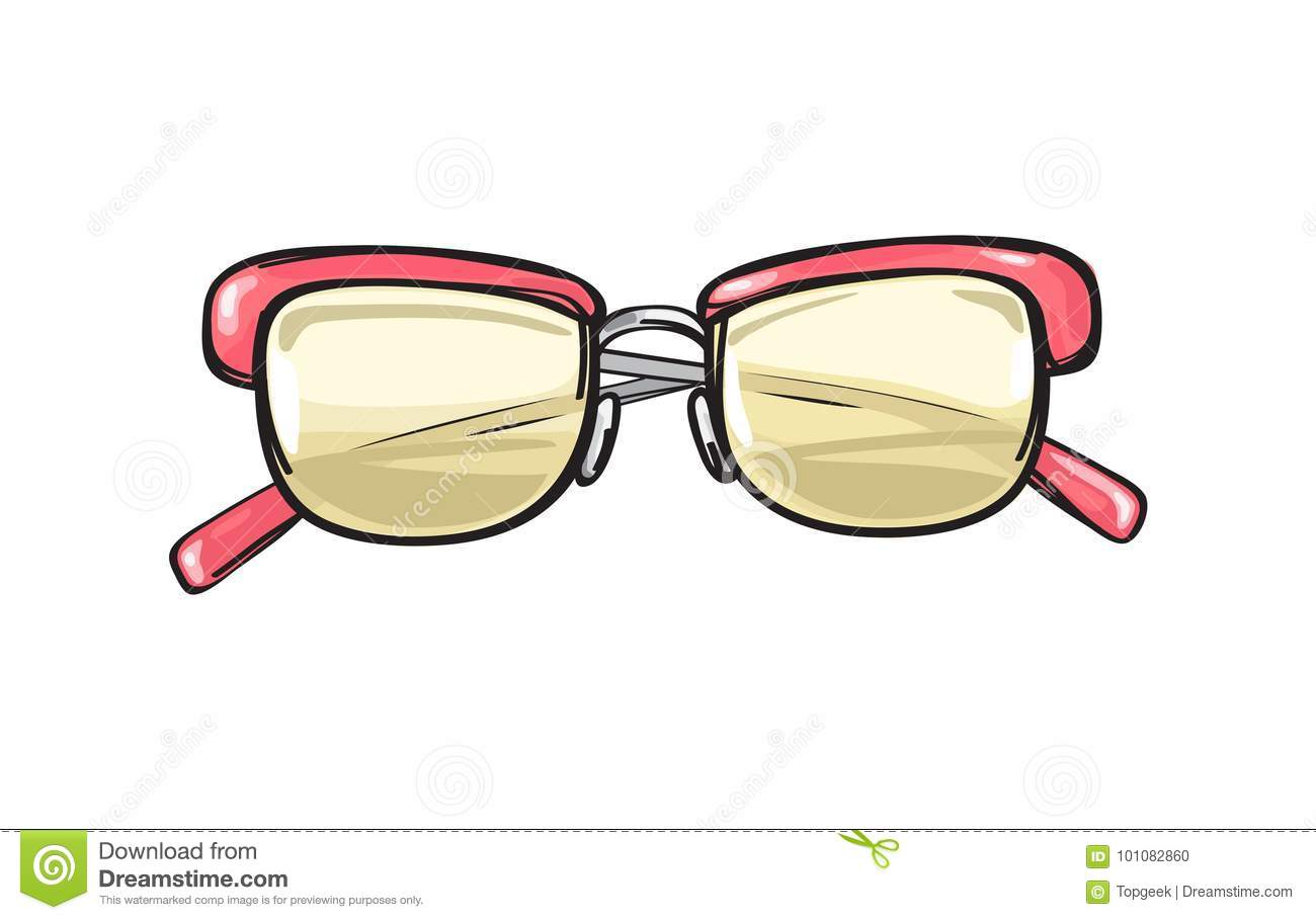 Fashionable Glasses With Coral Frame Illustration Stock Vector ...