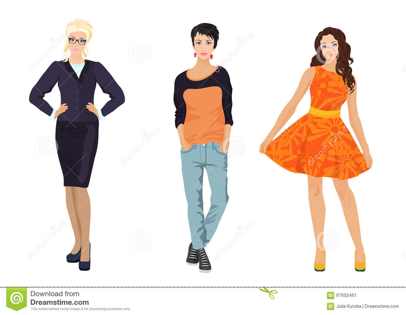 Beautiful girls in different clothing style vector Different fashion style groups