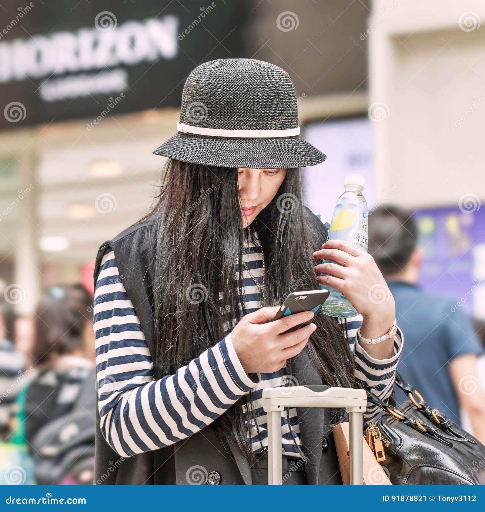 Fashionable girl, Beijing downtown, China