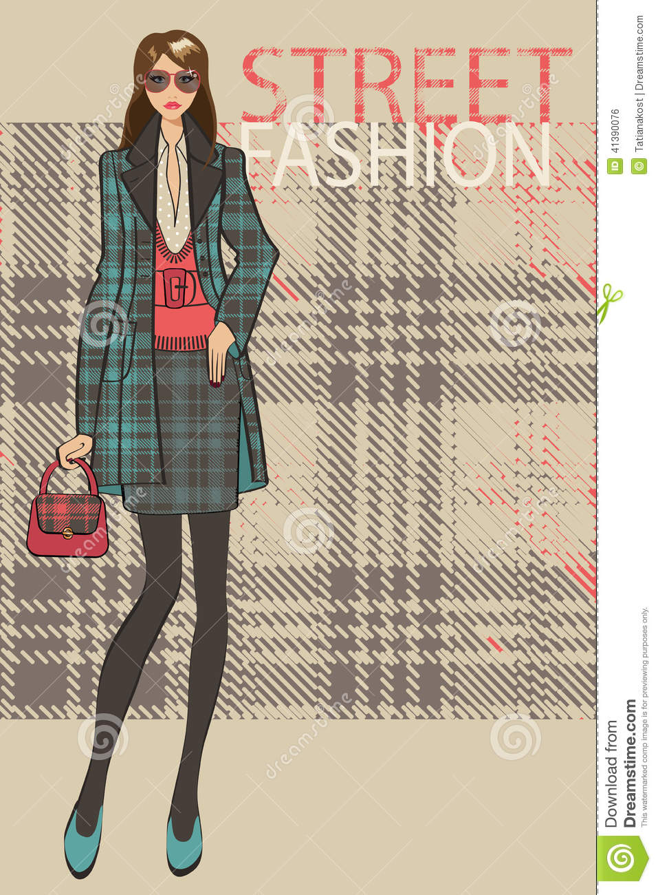 Fashionable Girl In Skirt And Coat Fashion Illustration