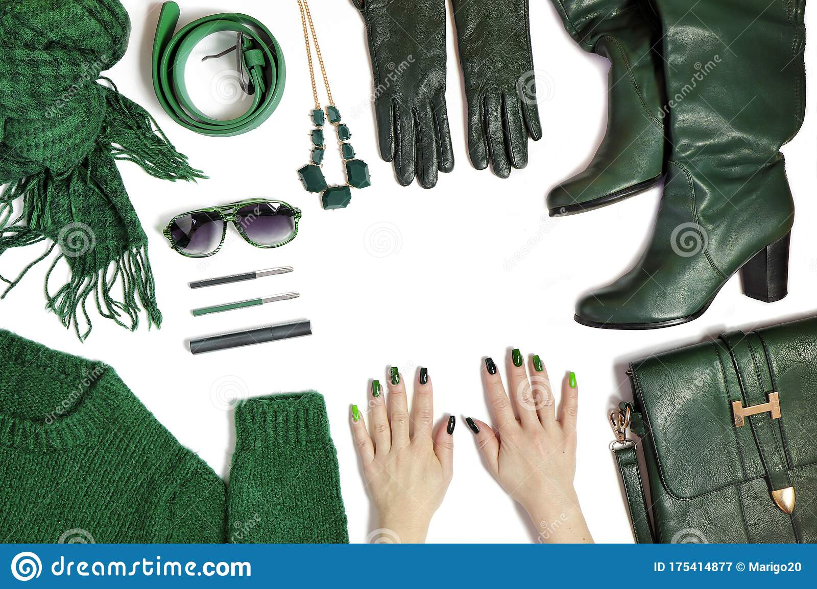 Fashionable Green Manicure On Long Nails And Stylish Accessories Stock Image Image Of Nail Belt 175414877