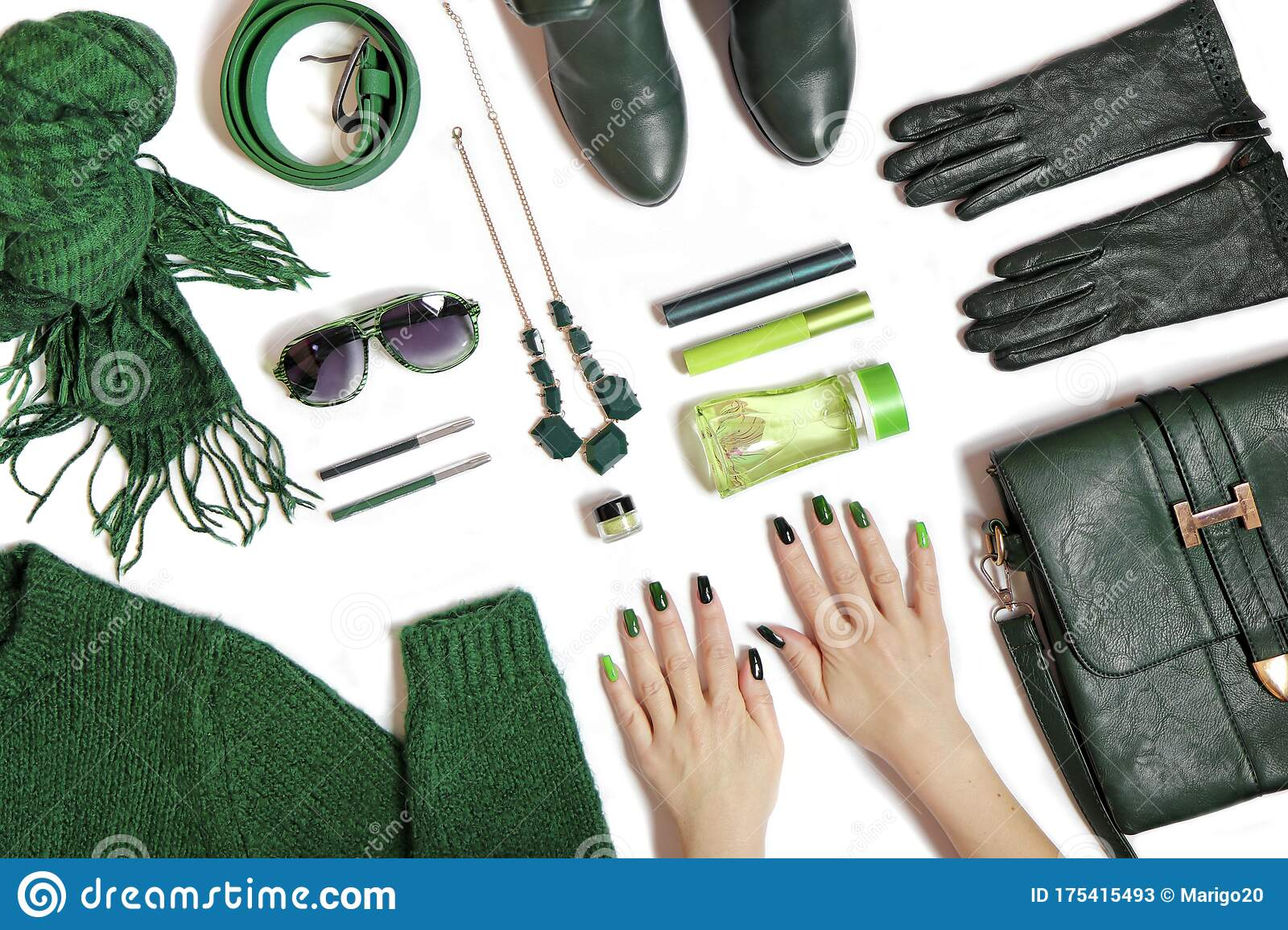 Fashionable Green Manicure On Long Nails And Stylish Accessories Stock Image Image Of Design Nail 175415493
