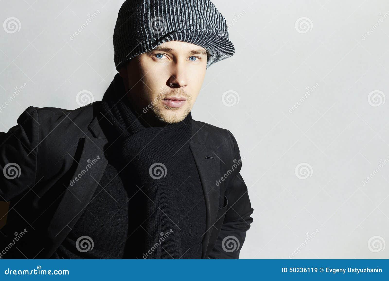 8b1b0e31a3f Fashionable Handsome Man in Black scarf.Stylish Boy in hat.Young man.spring  casual fashion