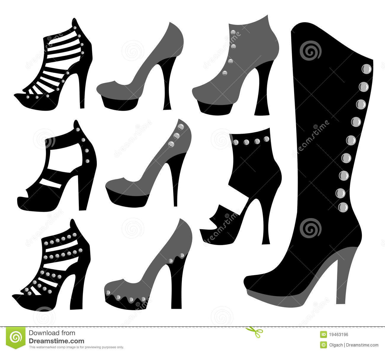 fashionable ladies shoes in black stock vector