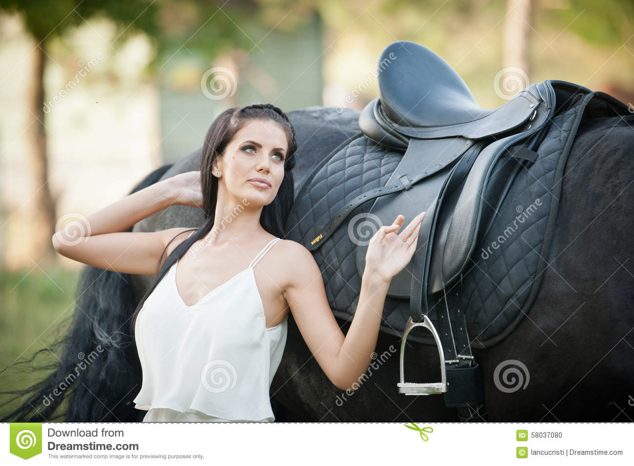 Fashionable Lady With White Bridal Dress Near Brown Horse