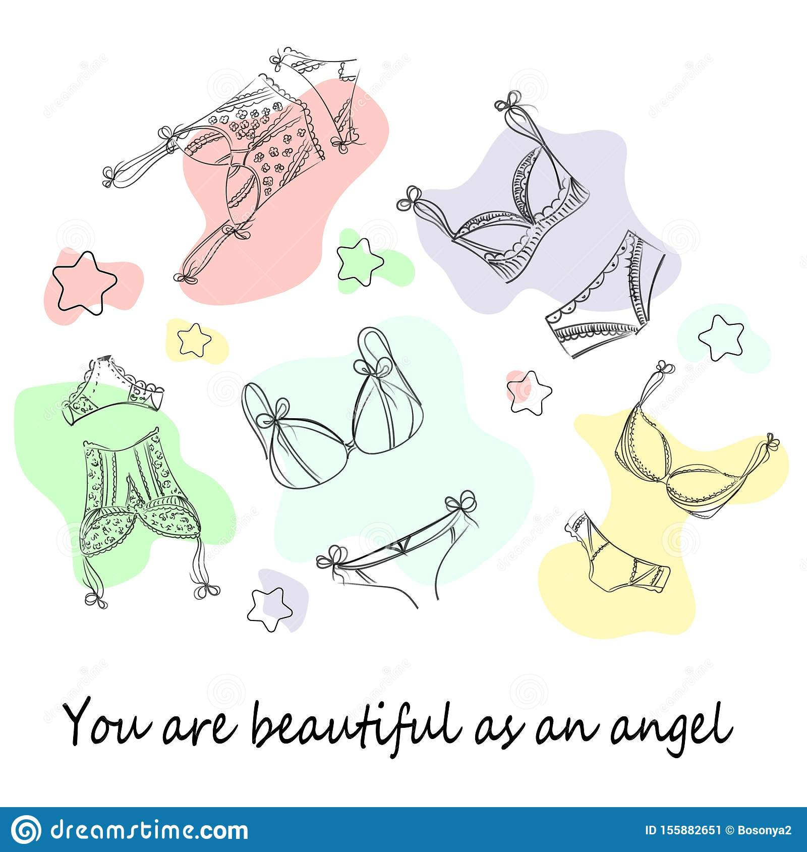 Fashionable lingerie collection for women, sketch illustration. Logo of women`s lace underwear, panties, bras, corsets,