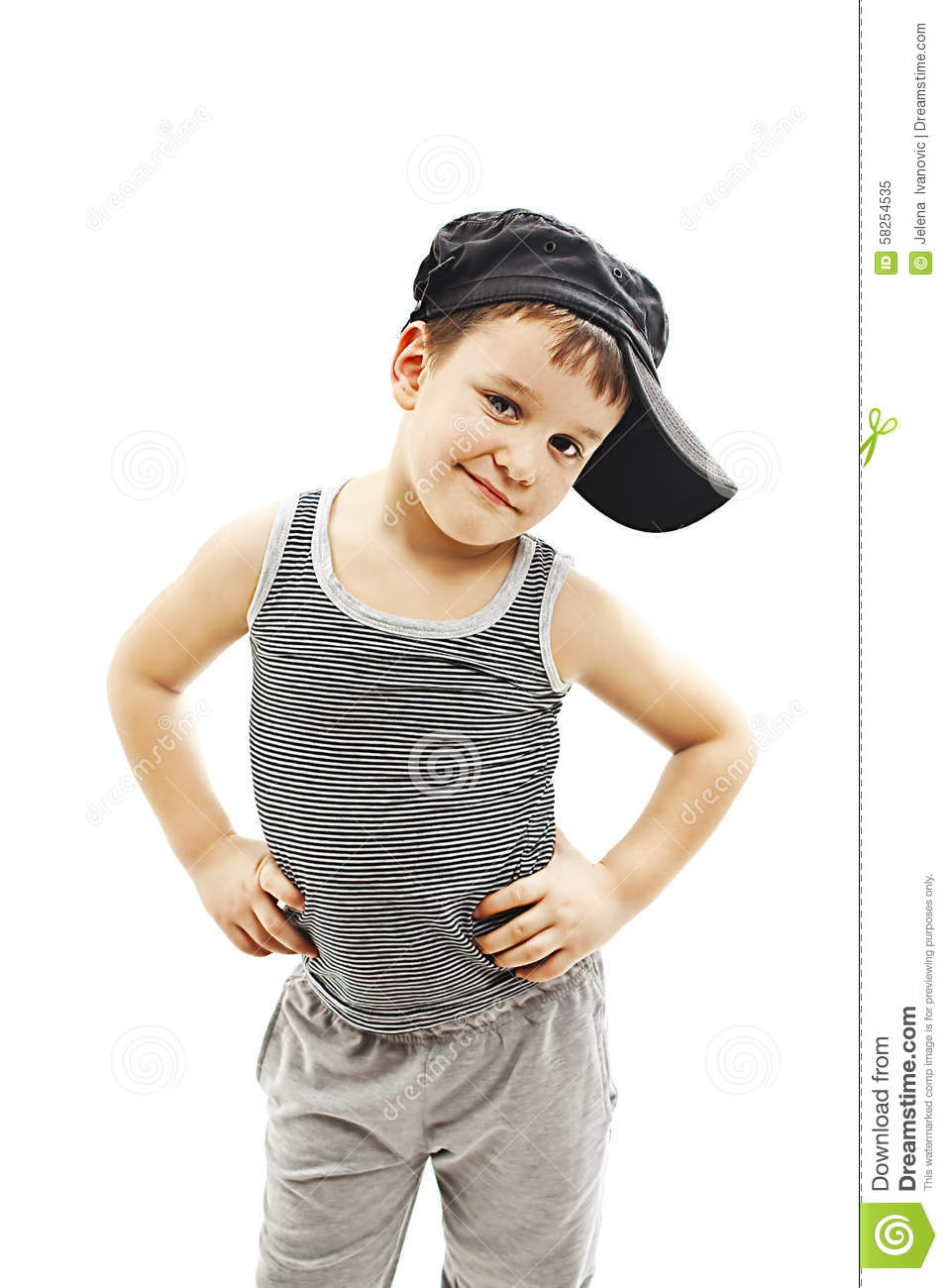 325233d40 Fashionable little boy.Hip-Hop Style. fashion children.handsome blond kid. Pose  Boy in Tracker Hat. Young Rapper. Funny Child in Cap. 5 years old
