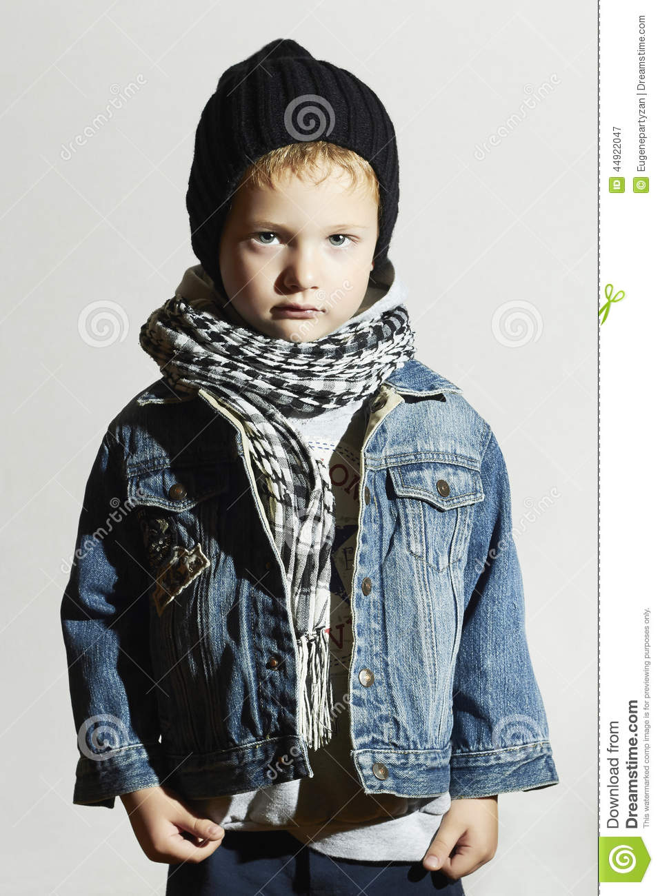 Fashionable Little Boy In Scarf And Jeans Winter Style