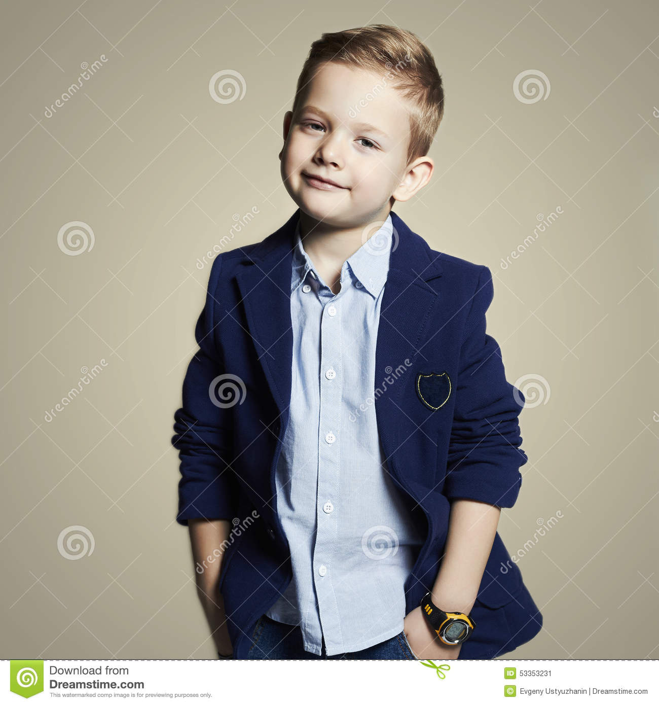 fashionable little child in suit stock image