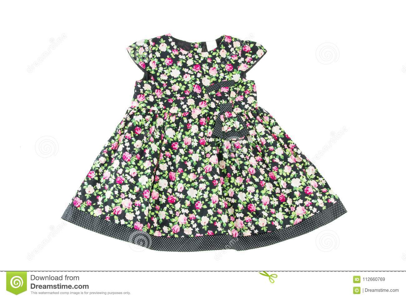 Fashionable little girl dress. Beauty and style in children`s clothes. Isolated on white background