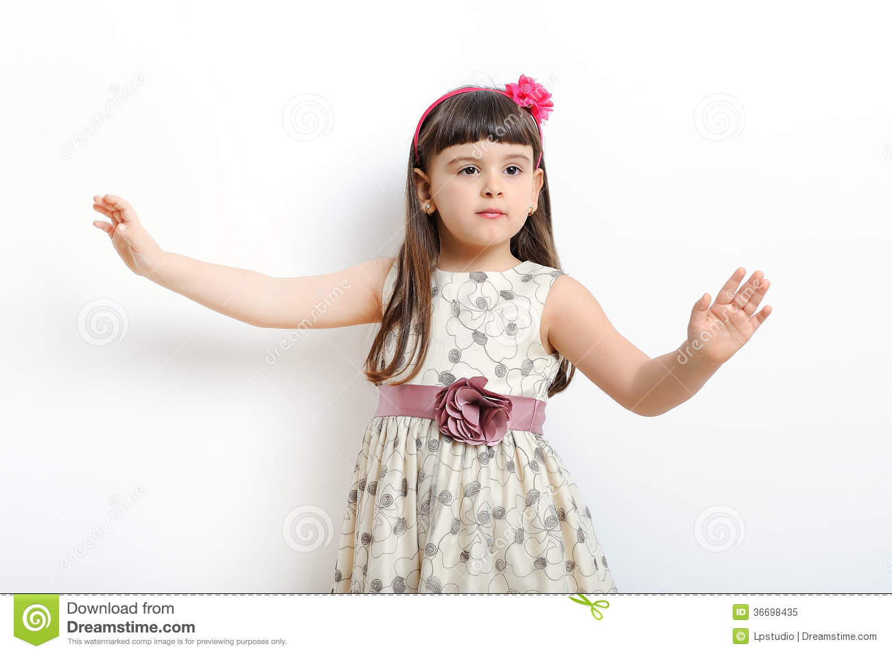 fashionable little girl in gorgeous gown royalty free