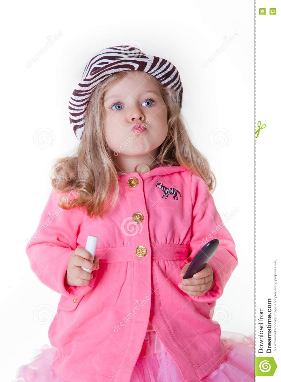 fashionable little girl sending a kiss stock image image
