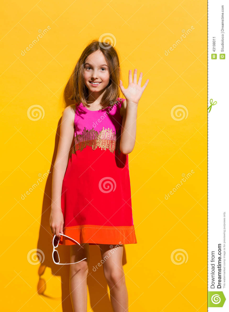 fashionable little girl waving hand stock image image of