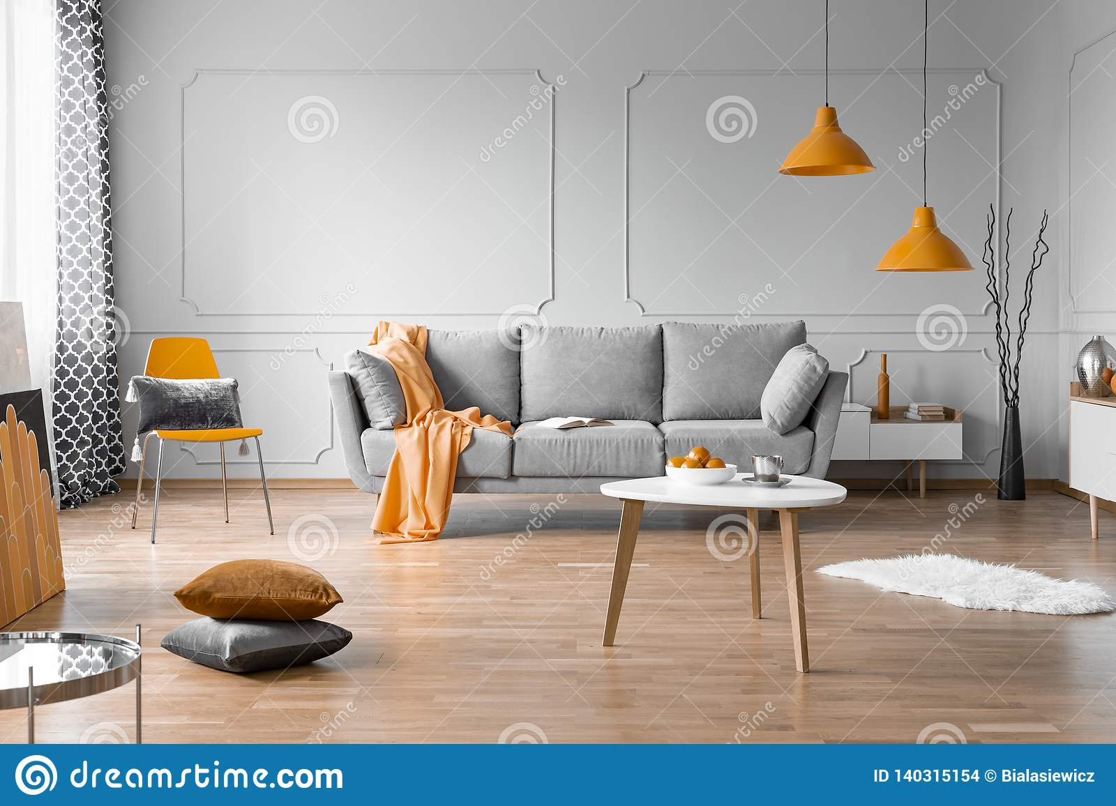 Fashionable Living Room Interior Design With Grey Couch ...