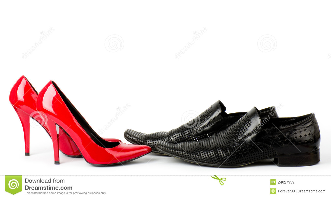 Fashionable male and female shoes isolated on white background