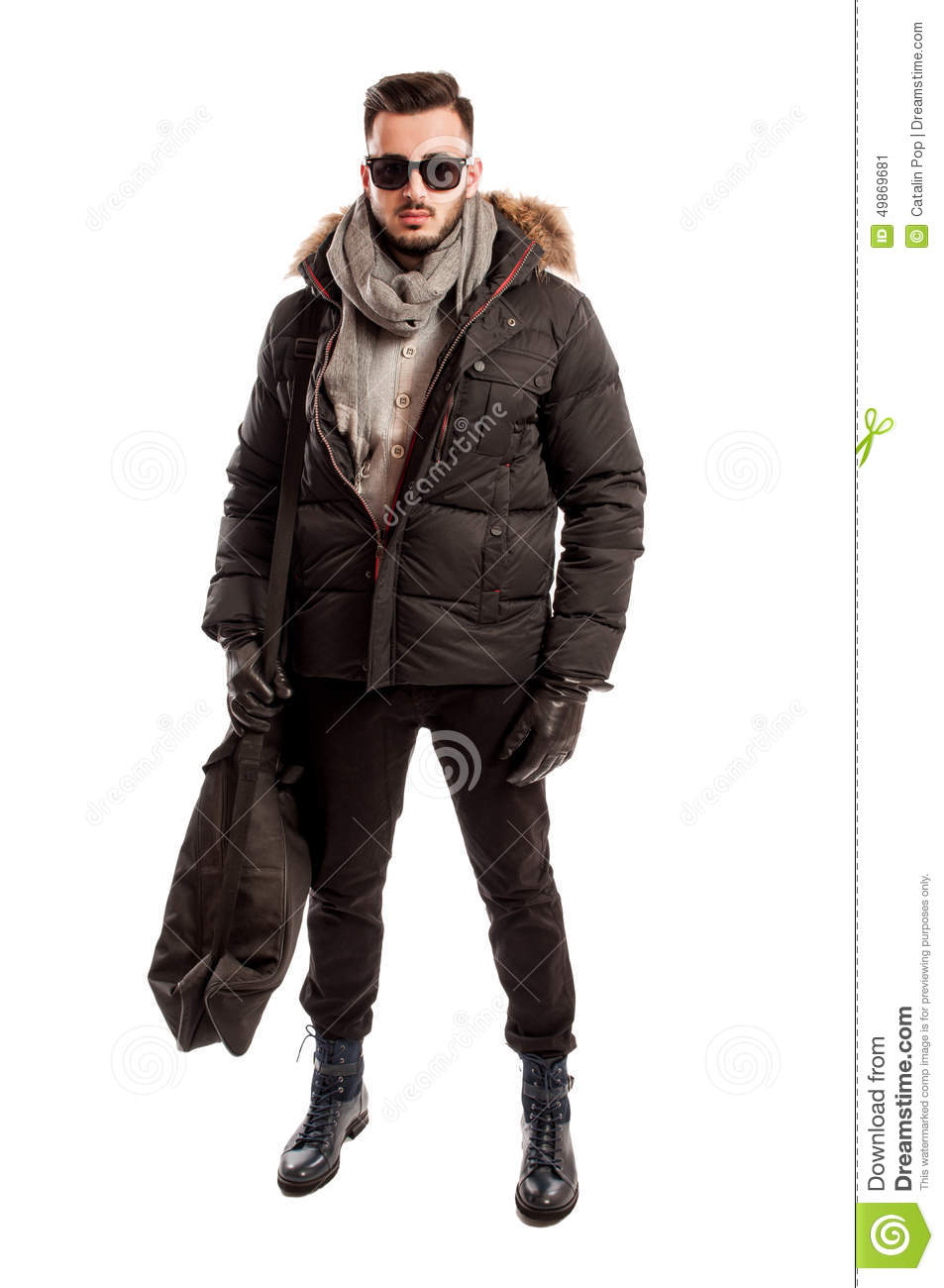 fashionable male model wearing winter clothes and a big