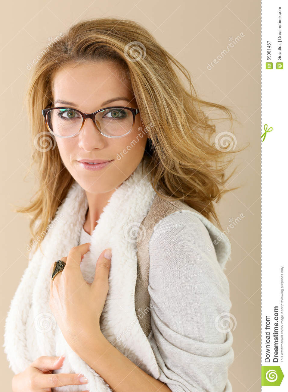 Fashionable Mature Woman With Glasses Stock Photo Image