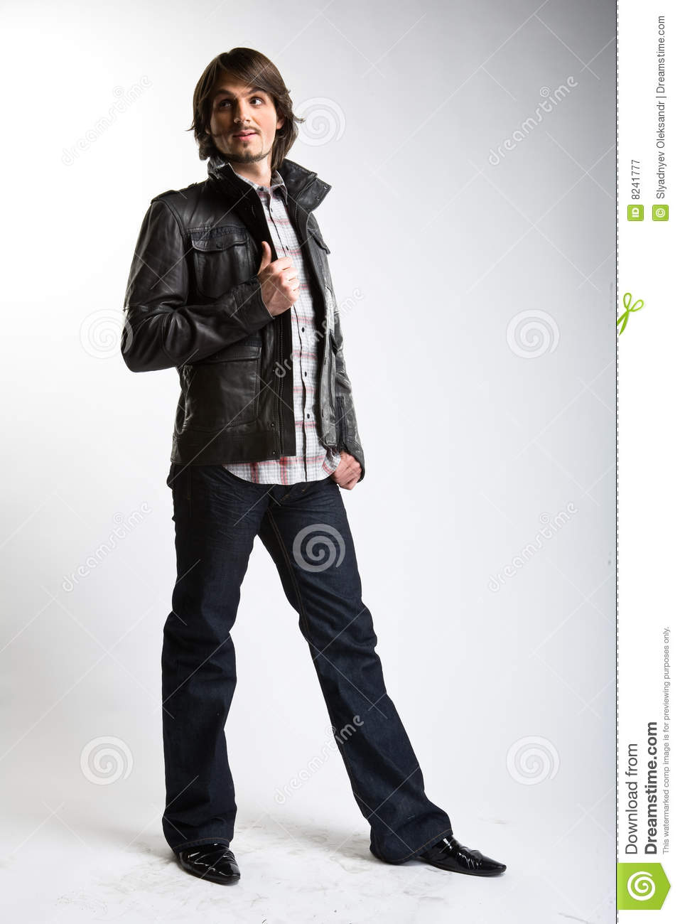 Fashionable model man in leather black jacket