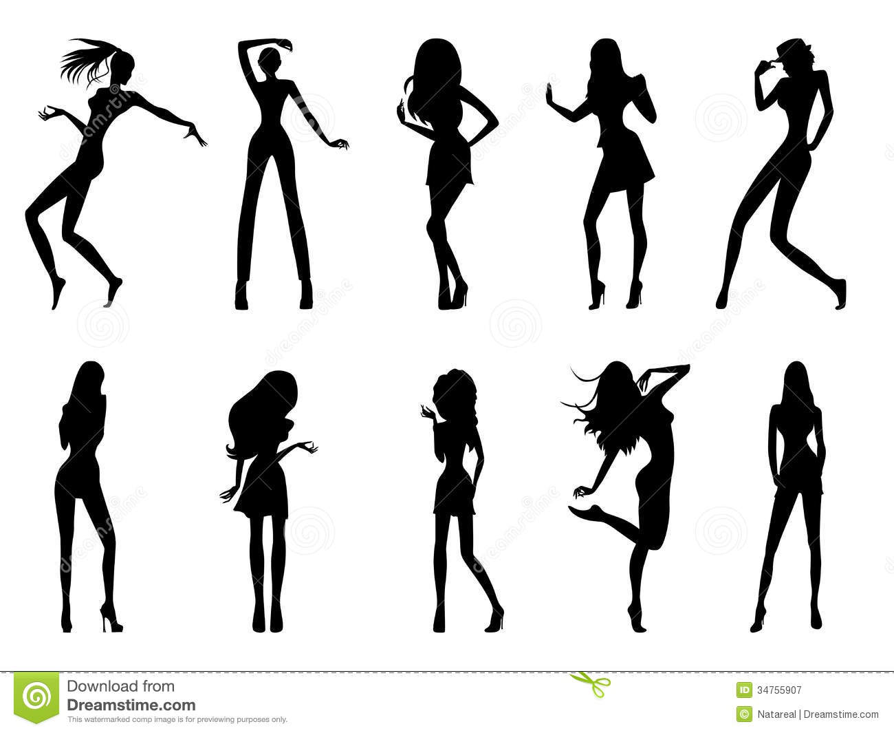 Fashionable Model Silhouettes Royalty Free Stock