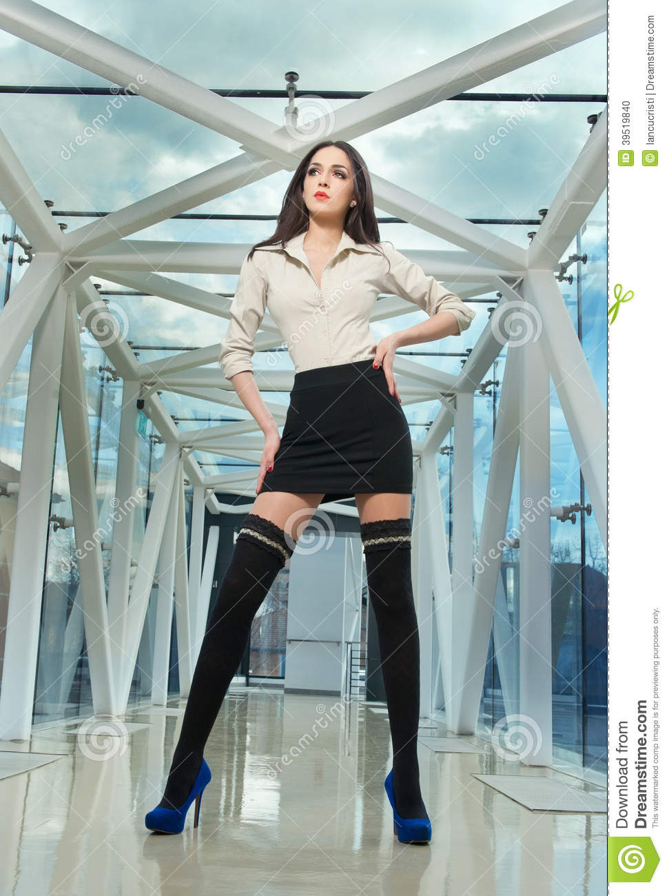 Fashionable Model In Steel And Glass Space Stock Photo - Image 39519840