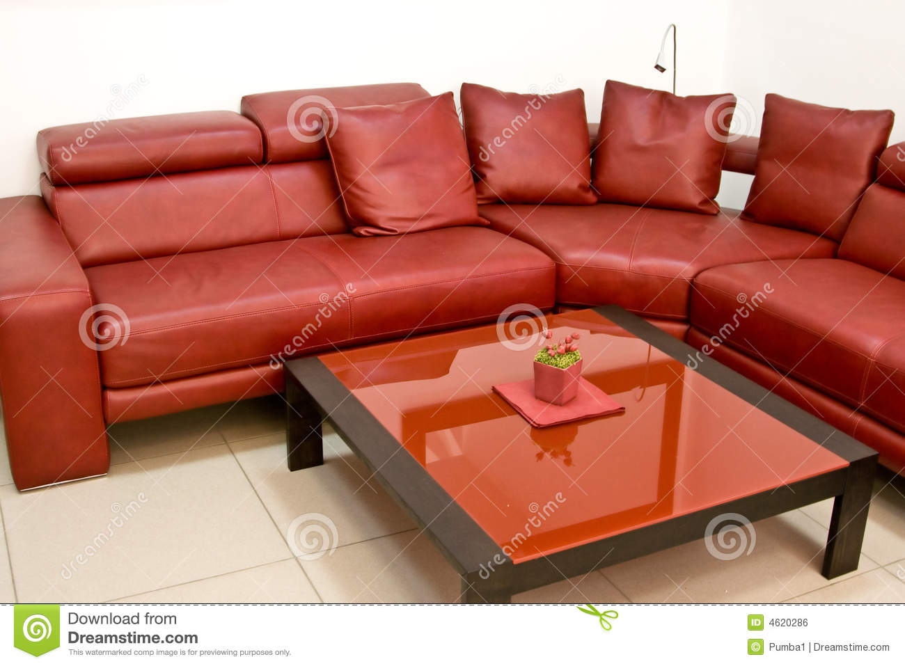 Fashionable Modern Interior With A Red Leather Sofa