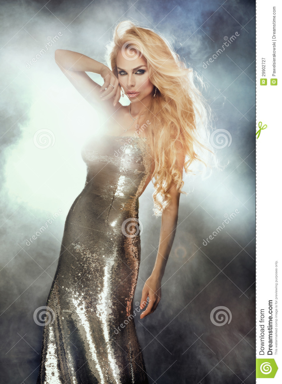 Portrait Of Cute Blonde Woman Wearing Silver Fashionable ...