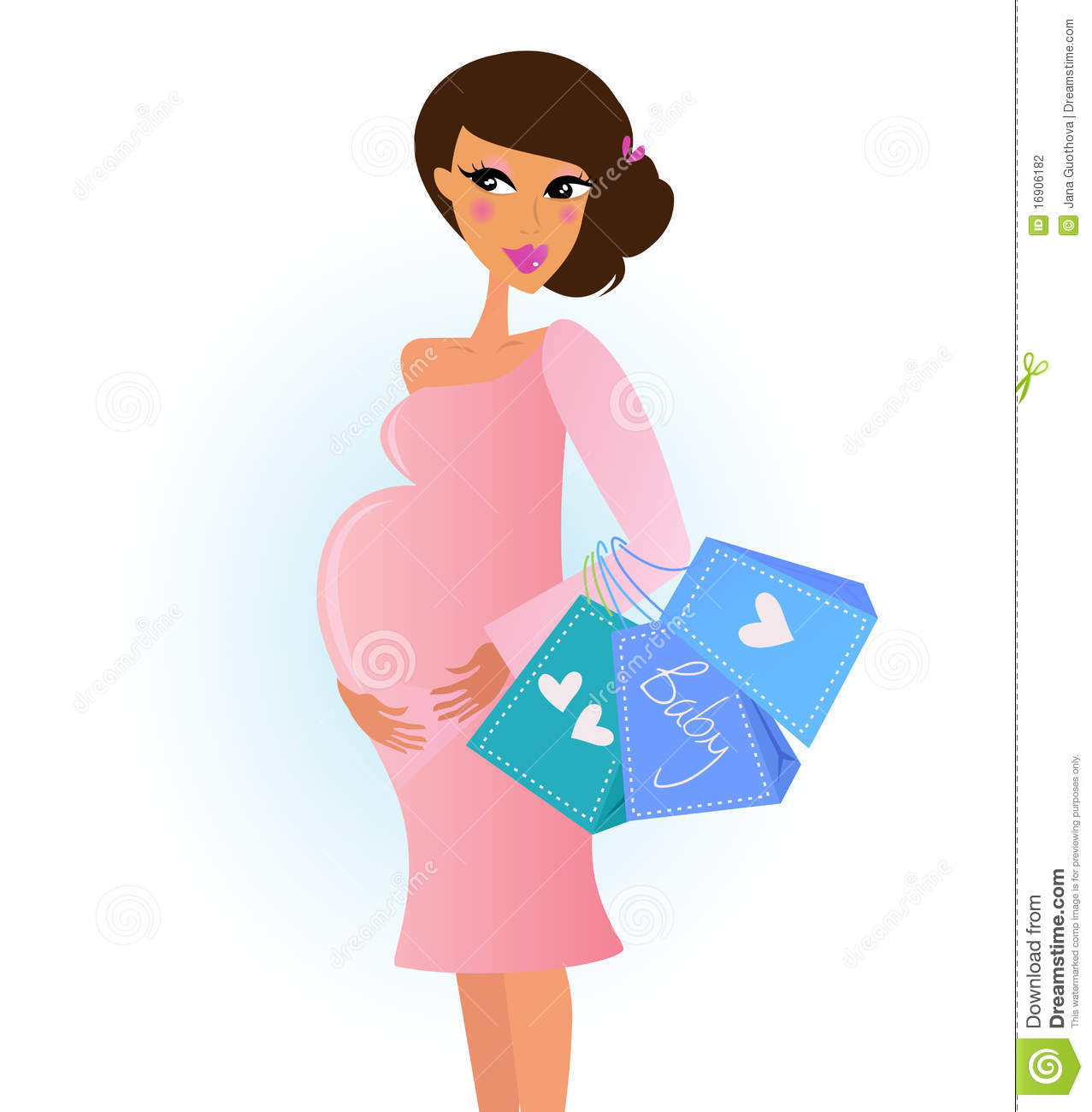 A Fashionable Pregnant Woman In Pink With Shopping Stock ...