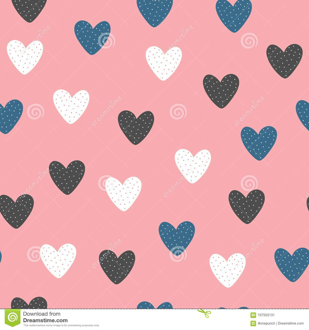 Fashionable seamless pattern with cute hearts drawn by hand.