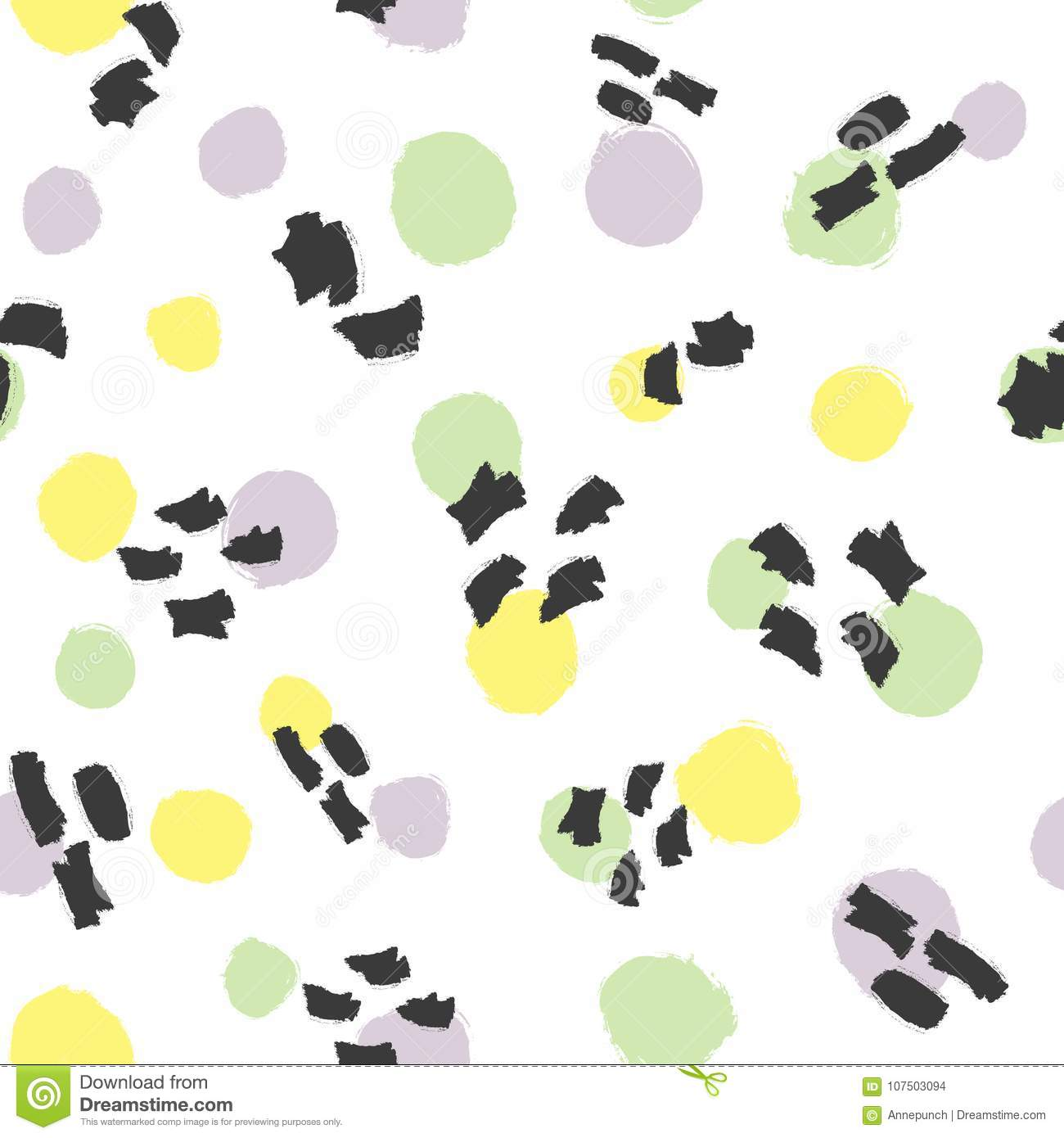 Fashionable seamless pattern with round spots and watercolor brush strokes.