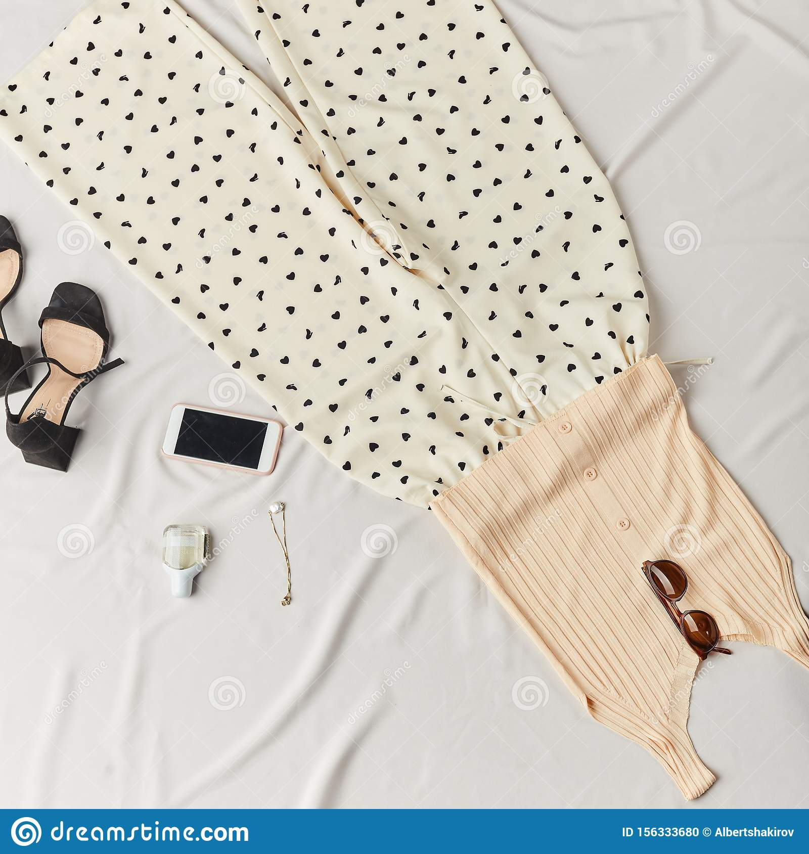 Fashionable set of female clothes and accessories