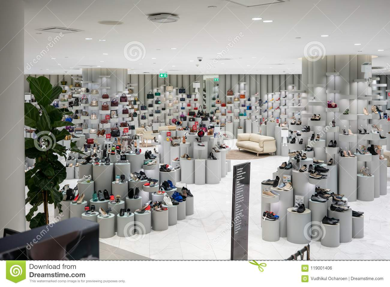 54e1fa99ee Fashionable shoes department at Siam Discovery, Bangkok, Thailand, Apr 11,  2018 : Lighting interior and modern display of shoes area at the modern  mall.