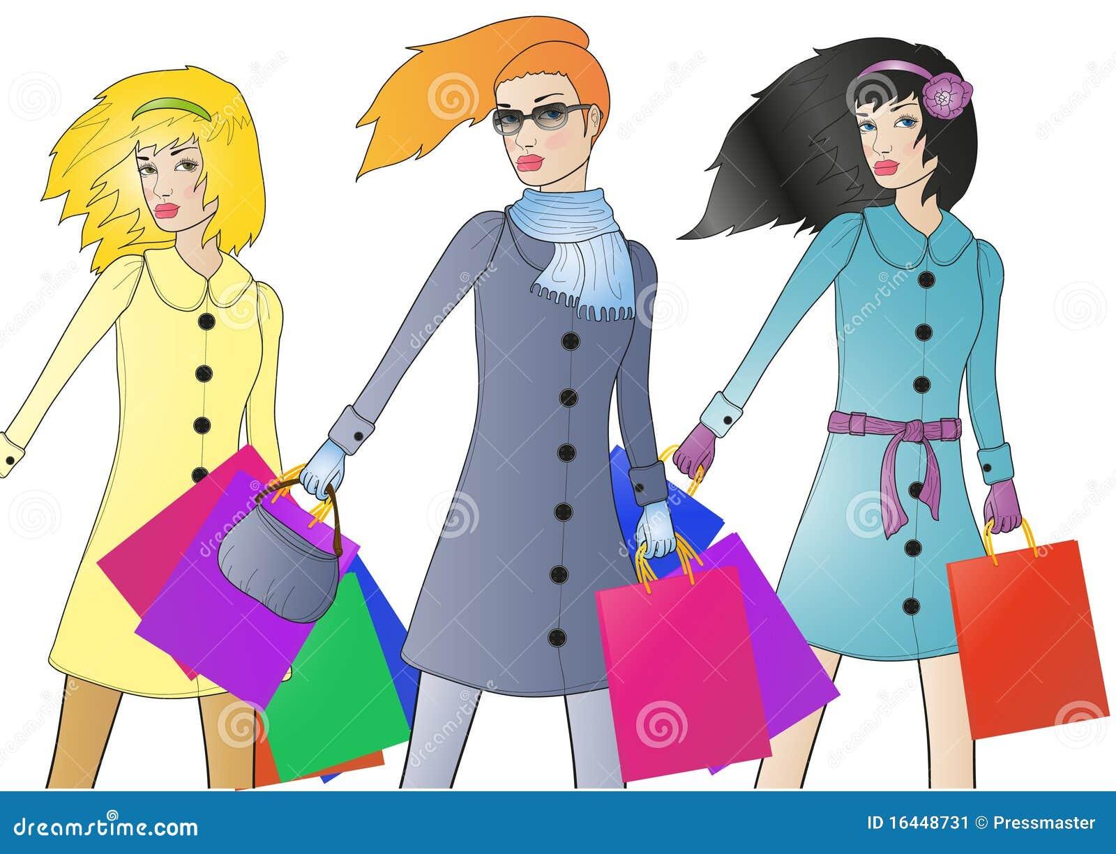 Fashionable shoppers stock illustration. Illustration of background ... c0455abd9b