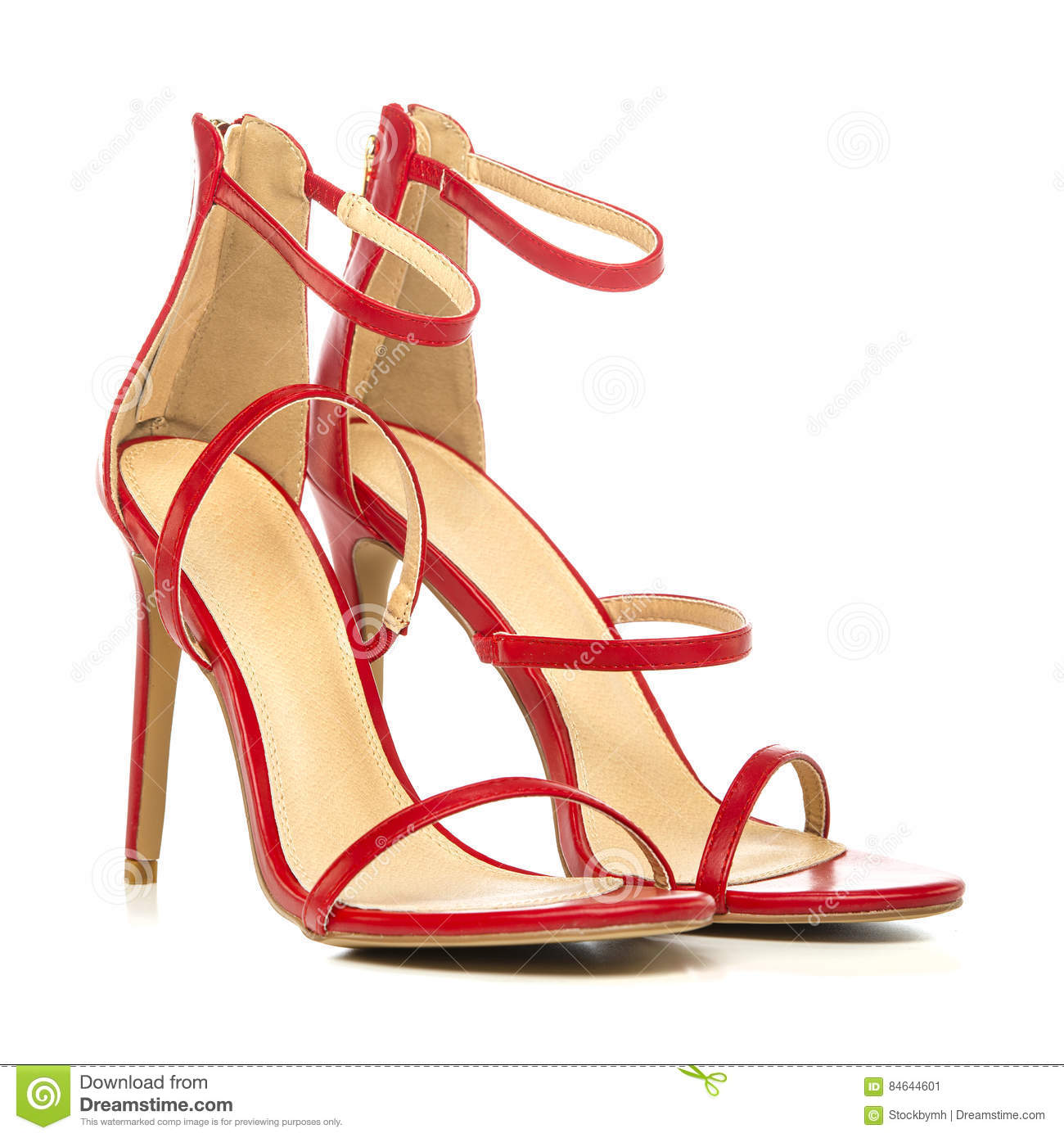 00886dd49 Fashionable Strappy High Heels Sandals In Red Stock Image - Image of ...