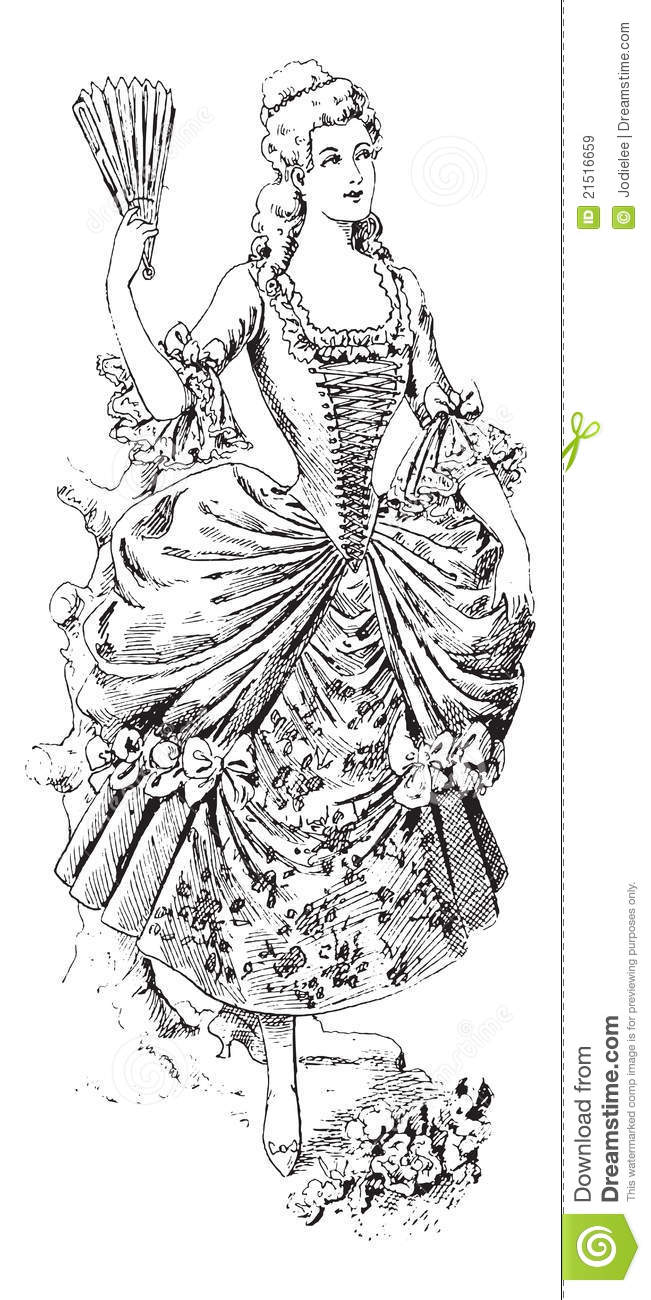 Fashionable victorian lady with fan and ball gown