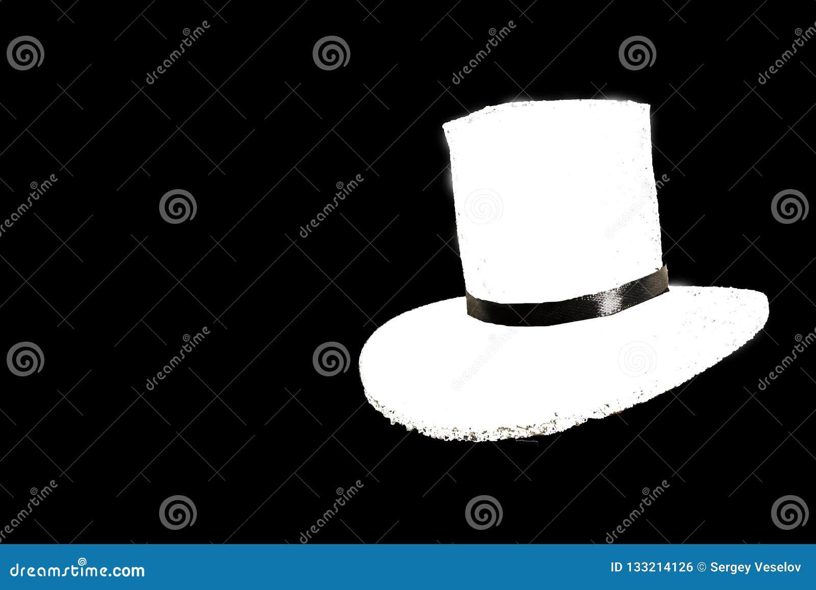 Fashionable white hat isolated on black background.