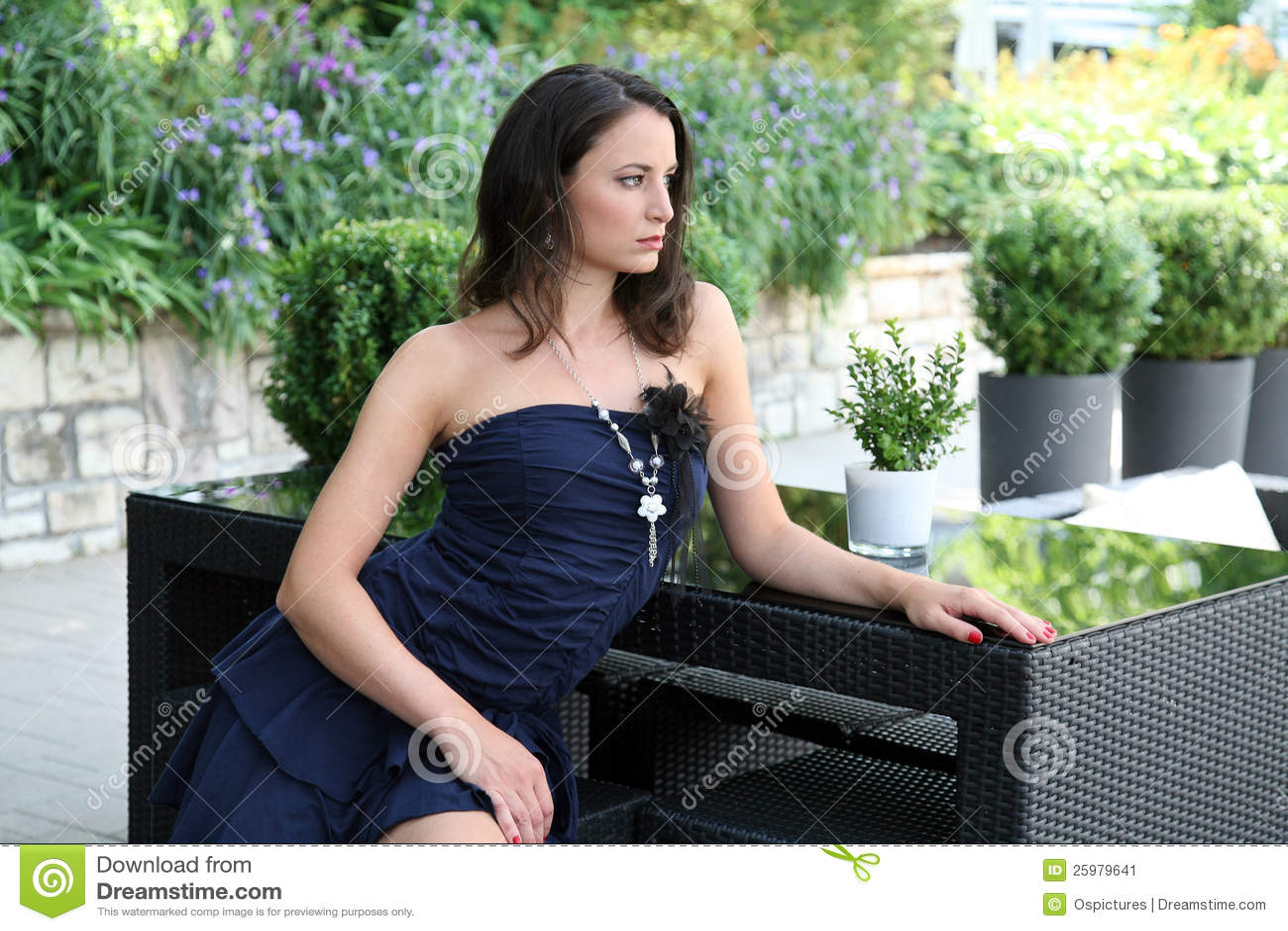 Fashionable Woman On Patio Stock Image Image 25979641