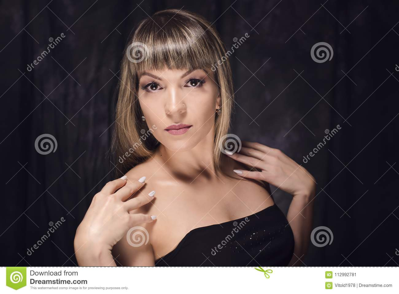 Fashionable woman with perfect smile and clean skin