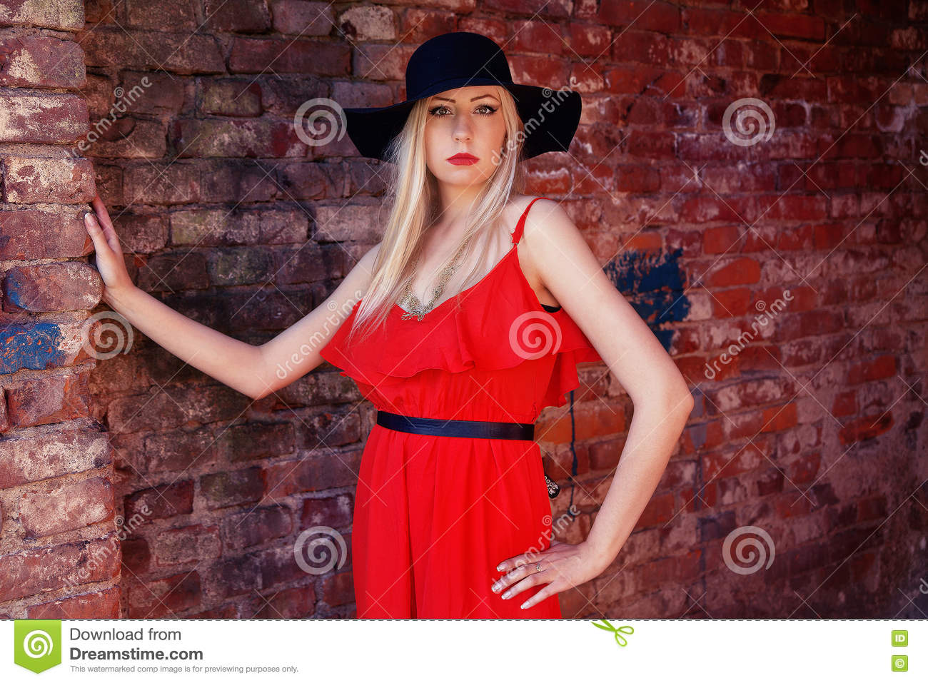 Fashionable Woman In Red Dress And Black Hat Stock Image - Image of ... 88eb9e293f9