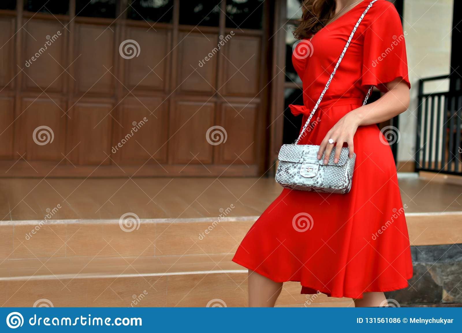 Fashionable woman in red dress holding leather snakeskin python bag. Close up of the purse in hands of a stylish lady